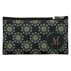 Shop Monogrammed Chic Gold & Green Asian Pattern Cosmetic Bag created by BlueRose_Design. Small Cosmetic Bags, Black Pattern, Black Nylons, Satin Fabric, Travel Accessories, Your Style, Monogram, Asian, Cosmetics