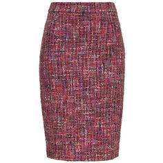 ESCADA Skirt Ravette ($695) ❤ liked on Polyvore featuring skirts, amethyste, escada, knee length pencil skirt, escada skirts, kick pleat skirt and zipper skirt