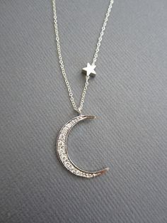 Moon+and+Star+necklace+Star+and+Moon+necklace+Star+by+Muse411,+$41.00 ... I want this so badly