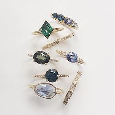 Bluesy notes of sapphires, tourmaline and diamonds #ringstack #sapphirering #alternativebride #engagementring #bluestones #madeinnyc #valejewelry