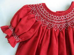 Vintage Baby Dress Smocked Red Childs Dress by by mailordervintage