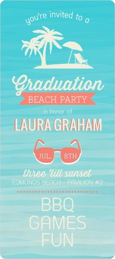 Watercolor Tropical Beach Graduation Invitation by InviteShop.com #graduationinvitations #graduationpoolparty