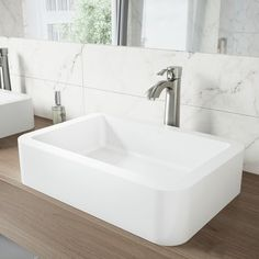 VIGO Petunia Matte White Matte Stone Vessel Rectangular Bathroom Sink at Lowe's. With a bold and rectangular shape, and an impressive Matte StoneTM build, the VIGO Petunia vessel bowl bathroom sink is sure to make a statement in any Vessel Faucets, Vessel Sink Bathroom, Bathroom Faucets, Master Bathroom, Lavatory Sink, Stone Bathroom, Bathroom Island, Basin Sink, Small Bathroom