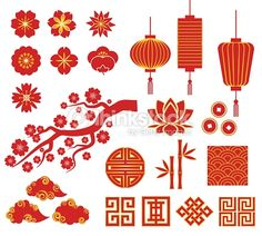 Vector Art : Chinese, Korean or Japan icons for Chinese New Year