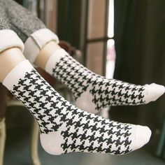 2017 Socks For Men And Women Couple Creative Plaid Black And White Striped Socks Classic retro and Cotton Jacquard  Socks #Affiliate