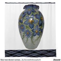 blue vase shower curtain pattern