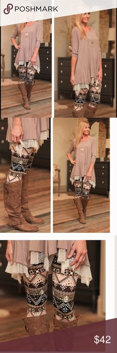 LAST ONE Lace Dot Trim Tunic Gorgeous and stylish lace dot trim tunic in Taupe. Perfect for layering with a scarf and the Mixed print leggings. High quality, soft material. Price is firm unless bundled where discounts may apply 🌷 Bellamisu Boutique Tops Tunics