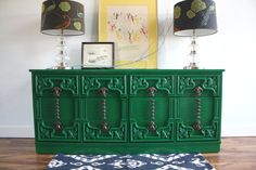 Emerald Green Vintage Dresser / Media Console by theTurquoiseIris, $399.00