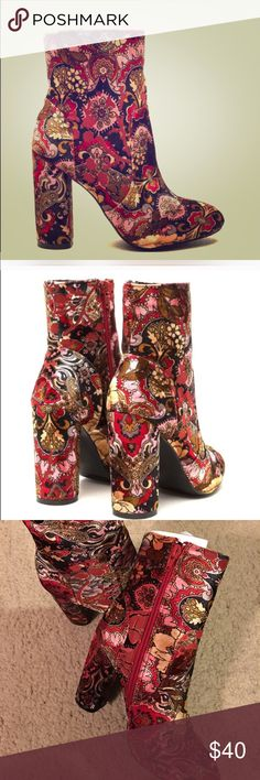 Bold Floral booties Velvet floral Chelsy booties so Fly Shoes Ankle Boots & Booties