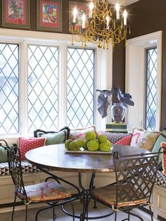 """breakfast nook""  ""colors & cushions breakfast nook""  ""nice colors in breakfast nook""  ""Pillows for Breakfast bench""  ""cosy nook banquet...lots of cushions!!""  ""little nook with pillows!!""  ""round table nook...nook idea...Breakfast room...Kitchen Nook...Whimsical breakfast...Eating nook...chandelier nook...Dining nook""  ..."