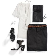 I don't usually do edgy, but I like the edgy details of this simple black and white outfit