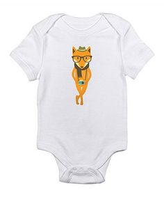 White Hipster Fox Bodysuit - Infant by Love you a Latte #zulily #zulilyfinds
