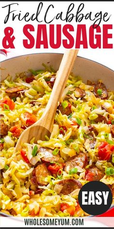 Fried Cabbage And Sausage Recipe - A super EASY fried cabbage and sausage recipe! This keto combo of smoked sausage and cabbage makes a healthy, delicious dinner in just 30 minutes. #wholesomeyum Keto Diet For Beginners, Recipes For Beginners, Sausage Recipes, Keto Recipes, Fried Cabbage With Sausage, Clean Eating, Healthy Eating, Keto Food List, One Pot Meals