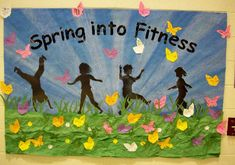 """""""Spring into Fitness"""" is a great idea for a P.E. spring bulletin board display.  This display idea could be used for other subjects as well:  """"Spring Into ____ (writing, reading, science, etc.)"""""""