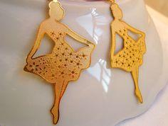 Lovely Ballerina Earrings in Gold Ballet Dancer by BeadingTimes, $15.00