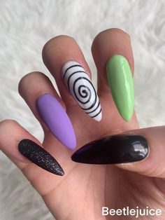 Beetlejuice inspired press on nails. Halloween press on nails. | Etsy Halloween Press On Nails, Nail Prices, Glue On Nails, Beetlejuice, You Nailed It, Acrylic Nails, Hand Painted, Unique Jewelry, Handmade Gifts