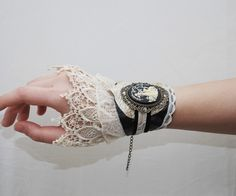 #steampunk #jewelry #bracelet #lace