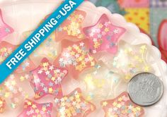 24mm Dreamy Pastel Confetti Star Chunky Resin by delishbeads, $3.95