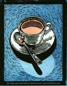 Coffee Cup Lino Print illustration by William McAusland:: Mcausland Studios, freelance illustrator, stock imagery, digital and traditional artist