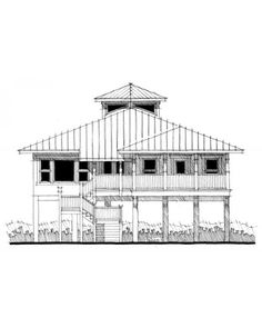Beach house plans on pinterest house plans bedrooms and for Waterfront house plans on pilings