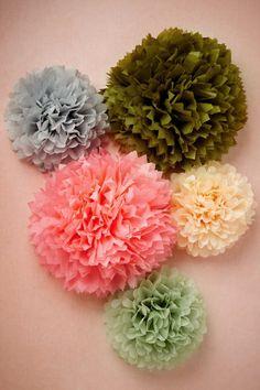 Papered Pom Set (5) from BHLDN | More here: http://mylusciouslife.com/pinterest-stripes-polka-dots-and-pom-poms/