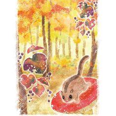 【mic_pirai】さんのInstagramをピンしています。 《秋の森です。自作絵本の一枚。 #やまね #秋 #森 #イラスト》