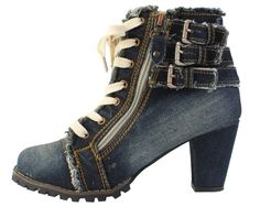 LZ2701 Women's Denim Canvas Zipper High Heel High Top Wedge Boot Fashion Shoes #VOVOshoes #FashionAnkle