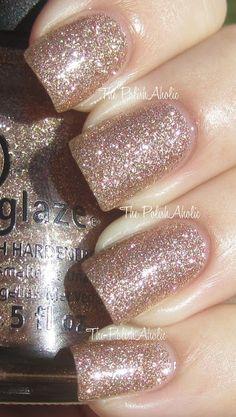 Champagne kisses -china glaze new year's nails, love nails, how to do nails Fancy Nails, Love Nails, How To Do Nails, Pretty Nails, My Nails, Sparkly Nails, Glitter Wedding Nails, Rose Gold Glitter Nails, Wedding Toe Nails