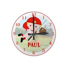 #Personalized #Baseball Boy Wall Clock. $22.45 per clock  Love how it's already got my last name and everything