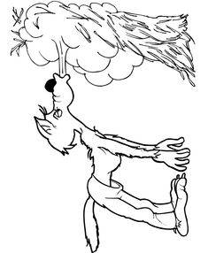 Three little pigs coloring page: the big bad wolf blowing the straw house down.There are other pages for fairytales as well.