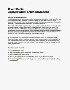 how to write an artist statement and bio