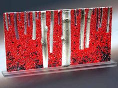 """""""Autumn's Carpet"""" by Glenn Abel    Cast and fused glass    19"""" x 12"""" x 1 1/2"""""""