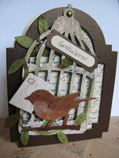 Card made with Tim Holtz Bird cage die