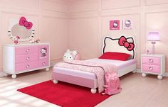 Bedroom:Beautiful Girls Bedroom Furniture Decor Beautiful Pink White Wood Cute Design Wall Color Kids Room Hello Kitty White Mattres Wood Bed Pink Carpet Leather Wall Paint Pink Wallmount Mirror Dresser End Table Night Lamp At