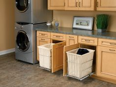 Awesome Laundry Room with Pull Out Hampers