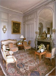 Château de Montgeoffroy: This salon is among my top five beloved rooms. The Louis XVI boiserie is my favored style, the symmetry accords with a visual fetish of mine, and the mellowness of the furnishings counters the formality. It has recently been redecorated by a fabric company, with an upholstery scheme in a yellow which is too strident in my view. I'm so glad the older pictures are still on the net. Jeff