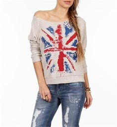 Vintage British Flag Fleece Sweater