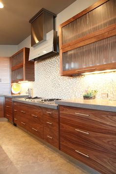 Hand Crafted Modern Walnut Kitchen by Riverwoods Mill, Home Decor Kitchen, Contemporary Walnut Kitchen, Modern Wood Kitchen, Contemporary Kitchen, Kitchen Cabinet Styles, Best Kitchen Cabinets, Modern Walnut Kitchen, Kitchen Renovation, Walnut Kitchen Cabinets