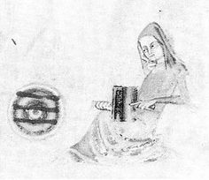 from the Lutterel Psalter (c. 1330) shows a woman carding wool with a pair of carders, and three finished rolags lie on a plate next to her