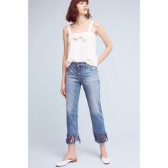 Pilcro Hyphen Mid-Rise Relaxed Boyfriend Jeans ($138) ❤ liked on Polyvore featuring jeans, denim medium blue, fringe denim jeans, medium rise jeans, blue jeans, light wash denim jeans and mid rise boyfriend jeans