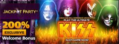 You can get an exclusive 200% first deposit bonus up to £200 at Jackpot Party Casino to play the brand new KISS Shout It Out Loud slot game: http://www.casinomanual.co.uk/exclusive-200-bonus-play-kiss-shout-loud-slot/