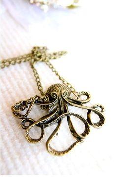 Vintage Octopus Bronze Necklace by christine.perron.14
