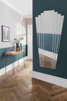 Large Fan Effect Art Deco Mirror - Soraya Interiors UK Art Deco Interior Living Room, 1930s House Interior, Art Deco Home, Interior Design, Art Deco Bathroom, Art Deco Mirror, Mirror Wall Art, Art Deco Spiegel, Hallway Art