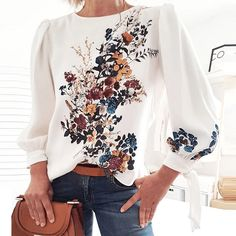 """""""This floral tops for women provide a unique look that will dress up your casual look and take it to a whole new level."""" #floraltopsforwomen #whitefloraltops Long Sleeve Tops, Long Sleeve Shirts, Fall Shirts, Printed Blouse, A Boutique, Shirt Blouses, Blouses For Women, Floral Tops, Floral Blouse"""