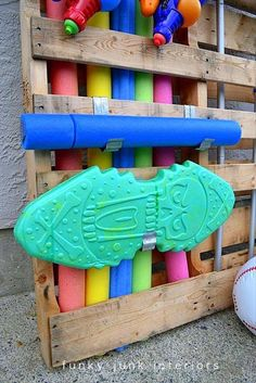 pool toy storage using a wood shipping pallet