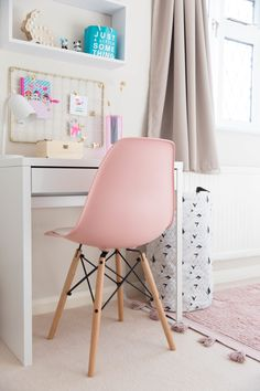 Easy ideas and inspiration how you can transform your childs toddler room into a functional space for a school aged child. This Scandinavian inspired bedroom reveal will show you how well neutrals work with all shades of pink and minimalist furniture. Girls Desk Chair, Girl Desk, Desk Chairs, Eames Chairs, Lounge Chairs, Girl Bedroom Designs, Girls Bedroom, Lego Bedroom, Minecraft Bedroom