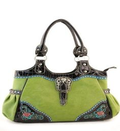 Green Flower Accent Western Buckle Purse  #HBM #Hobo