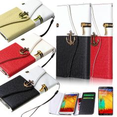 Luxury Leather Card Slot Cover Case Zipper Wallet For Samsung Galaxy Note 3+Film #Pandamimi