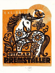 Exlibris by Maria Bauer-Klimbacher for Ottmar Premstaller