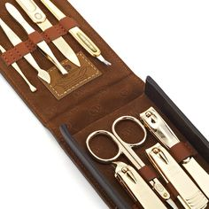 Mens Grooming 9Pcs Manicure Set Stainless Steel Gold | RnBJewellery